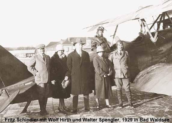 Fritz Schindler mit Wolf Hirth und Walter Spengler 1929 in Bad Waldsee