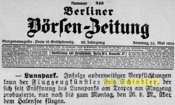 Schindler Berliner Börsenzeitung Berlin-Lunapark 26.Mai 1924