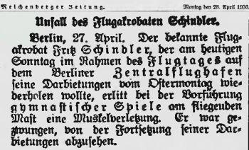 Schindler Reichenberger Zeitung 28.April 1930