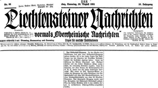 Liechtensteiner Nachrichten 22.08.1931 Soldenhoff