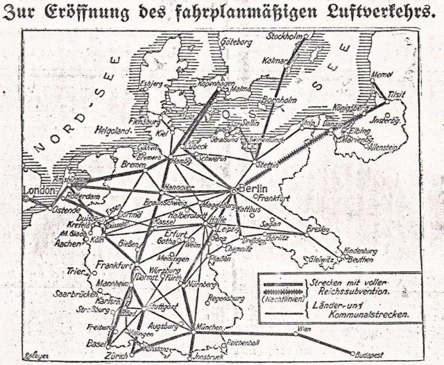 Luftverkehr 1926 Böblinger Bote Sonderbeilage 6.4.1925 Karte
