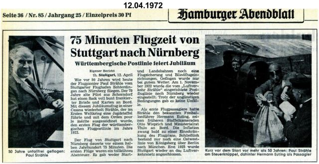 Jubiläum 50 Stg-Nü Strähle 1972-04-12 Hamburger Abendblatt - Strähle 1922 -2