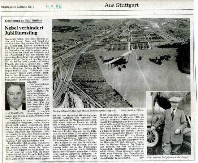 Jubiläum 75 Stg-Konstanz Strähle 1996-01-04 Stg.Ztg 4.1.1996