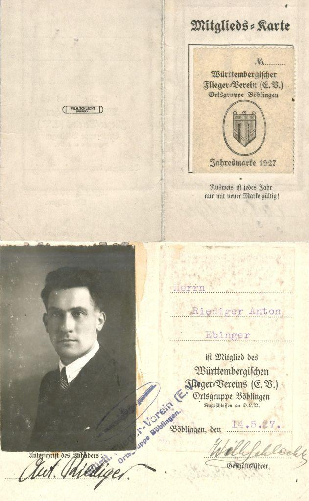 1927 Anton Riediger Württ.Fliegerverein Böblingen (HR)