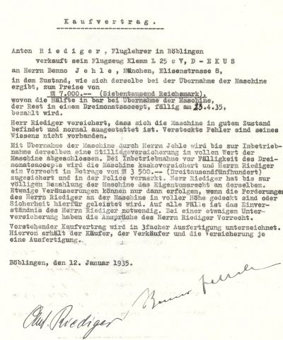 1935-01-12 Anton Riediger Kaufvertrag Klemm L25 D-EKUS (HR)