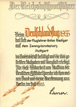1935 Anton Riediger 1935 Deutschlandflug (HR)