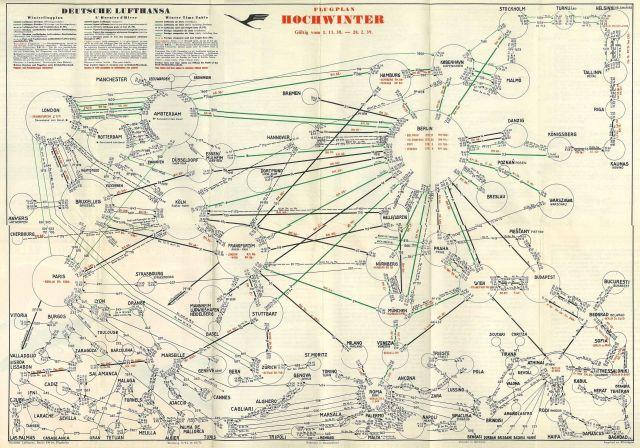 Deutsche Lufthansa 1938 1939-02-28 Hochwinter Streckenplan