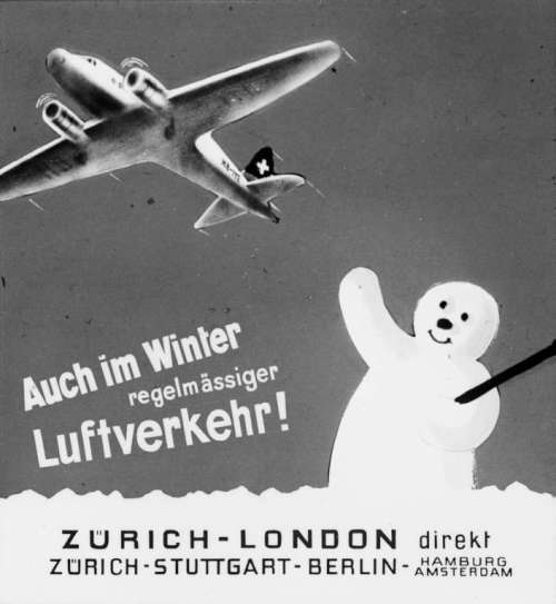 Werbung für die neuen Flugstrecken im Winter: Zürich - London und Zürich - Stuttgart - Berlin